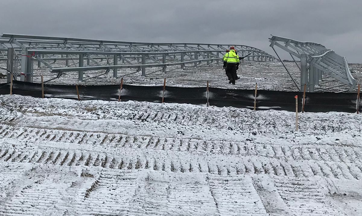 Field Fast Solar Racking Installation in Minnesota winter