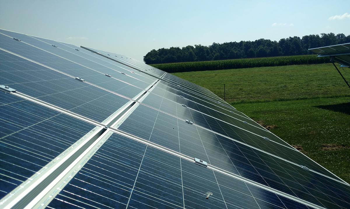 small community solar racking installed