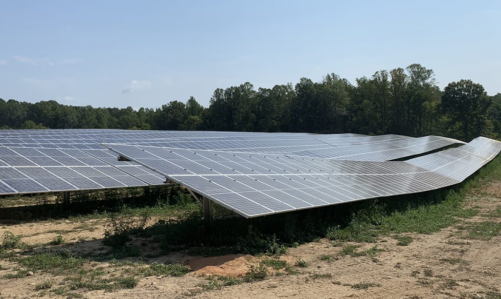 Strata Solar utility scale solar racking installation on uneven ground